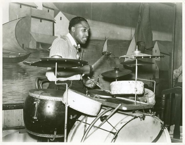 Drummer in orchestra in Memphis juke joint, Tennessee.