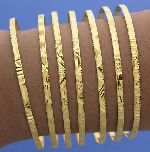 Bangle Bracelets Gold 18k Gold 7 Day Bangle Bracelet