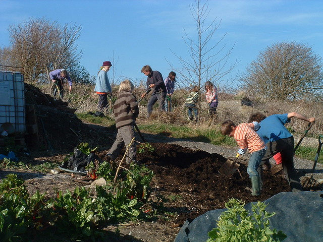 digging compost