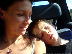 nick, fast asleep on aunt mango's shoulder after a b…