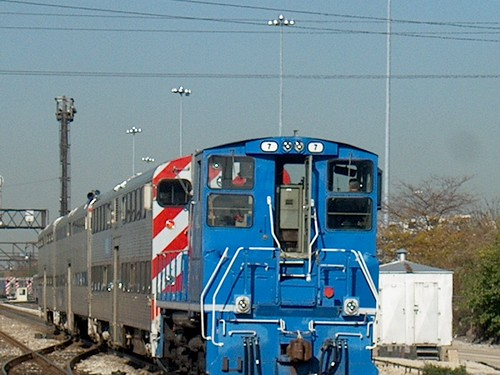 Metra coach yard switcher towing a cut of cars. Chicago Illinois. October 2006. by Eddie from Chicago