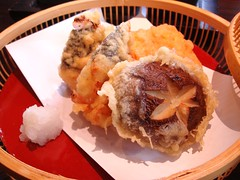 Oita style chicken breast tempura and sweet potato tempura from Kagoshima