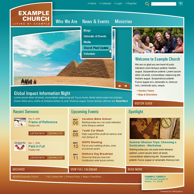Example Church (Curve Appeal) - Home Page w/Sub Nav