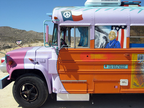 Peace bus in the desert.