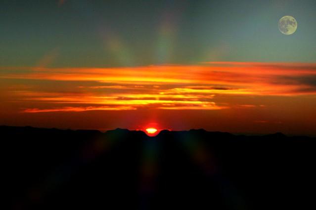 Sun & Moon. Rarely sunset