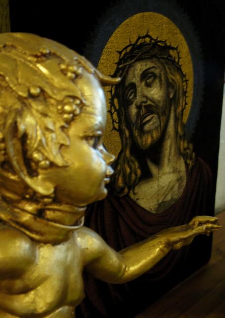 jesus and the creepy kiddie porn elf thing. @ macalpine's