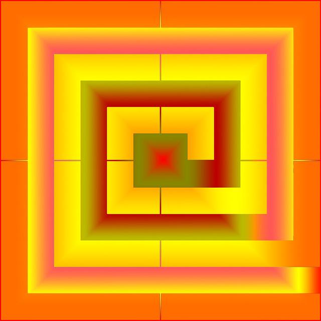 Orange squared spiral