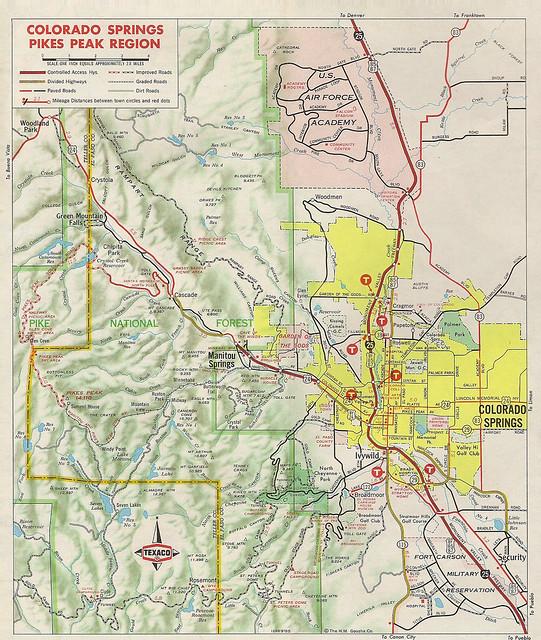 Colorado Springs And: Inset Map Of Colorado Springs Area, 1970