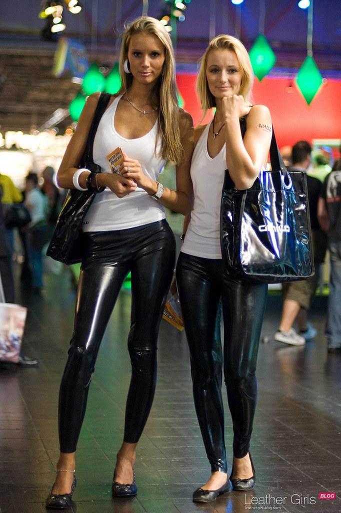 Girls in leather leggings