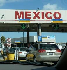 Cars lined up at border