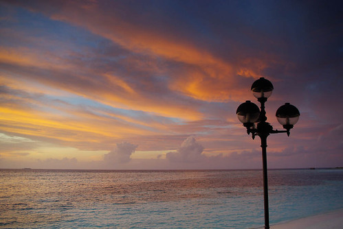 Sun sets on paradise island
