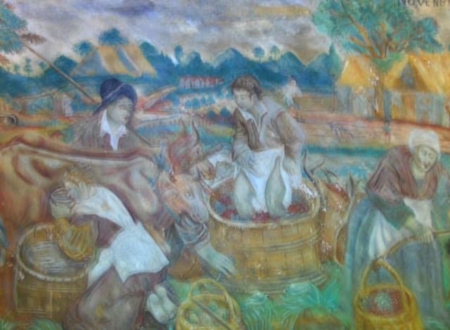 Ch teau de touffou peintures murales de 1630 dans la for Peintures murales