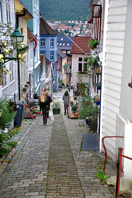 The narrow streets of Bergen Norway