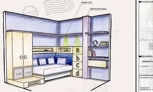 Contoh Sketsa Interior Kamar Anak, Proses Desain Interior di Annahape ...