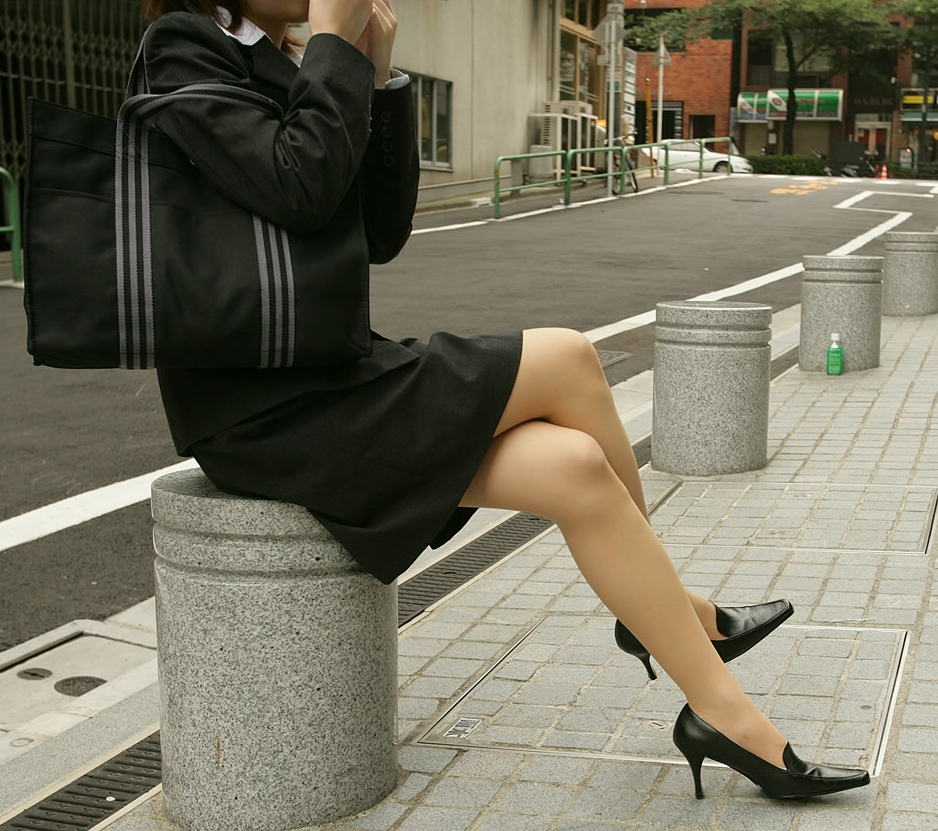 suit Black and heels skirt stockings high