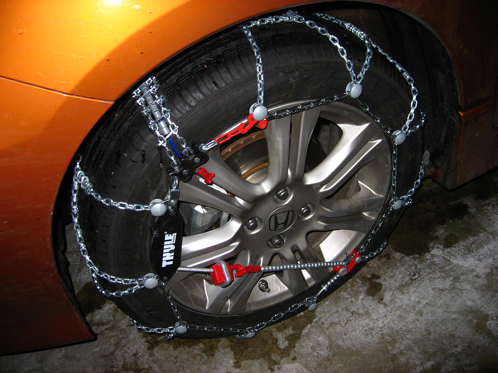 Snow chains unofficial honda fit forums for Honda fit in snow