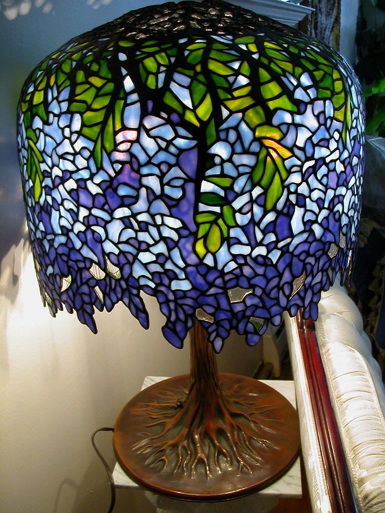 Sold Tiffany Blueviolet Wisteria Stained Glass Lamp
