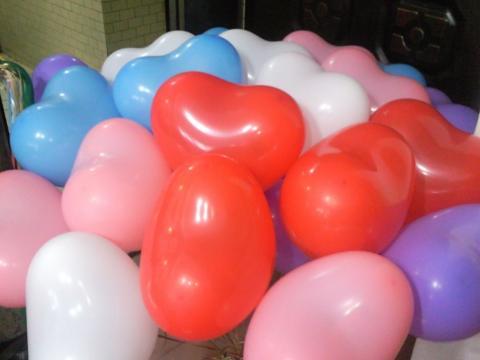 心型空飘气球,红色,白色,粉红色,粉蓝色,粉紫色,共25颗