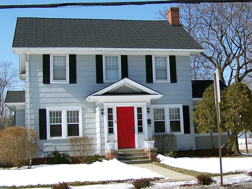 Show me your blue gray house and red doors thenest - Door colors for gray house ...