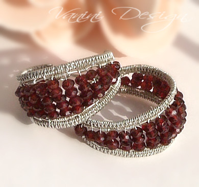 Garnet,Sterling Silver Wide Hoop Earrings