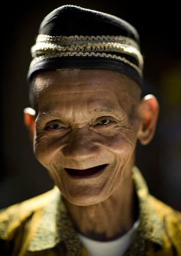 Old man smiling, Borobudur, Java, Indonesia