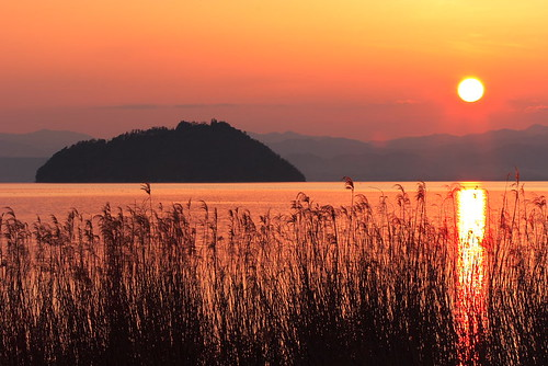 sunset lake nature japan landscape
