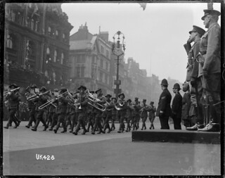 The Australian Imperial Forces Band takes the salute in London, May 1919