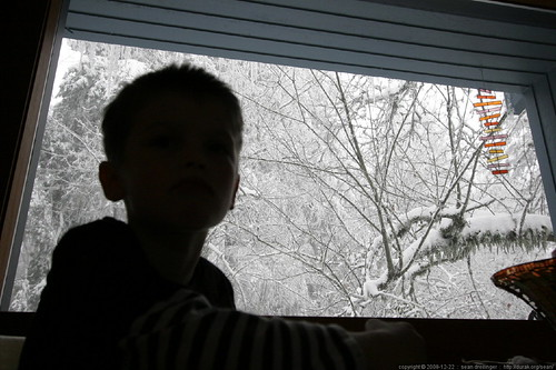 nick with a view of the icicle forest from his seat at the breakfast table    MG 3866