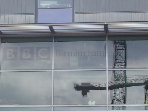 BBC at the Mailboc in Birmingham - window with a reflection of a crane