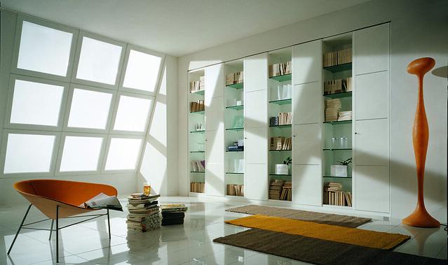 """Mazzali: """"M40"""" wardrobe and bookcase / l'armadio """"M40"""" . Living area"""