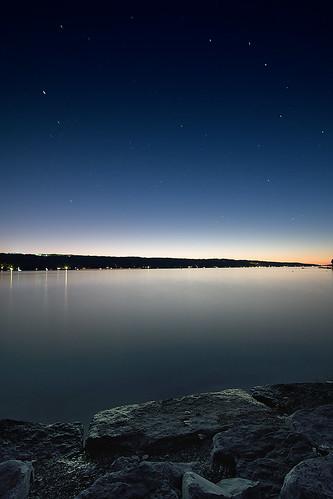 longexposure blue sunset summer sky lake newyork reflection nature water night canon stars landscape twilight tokina ithaca cayuga hdr cubism photomatix adambaker 40d multimegashot damniwishidtakenthat tokina1116 1116f28