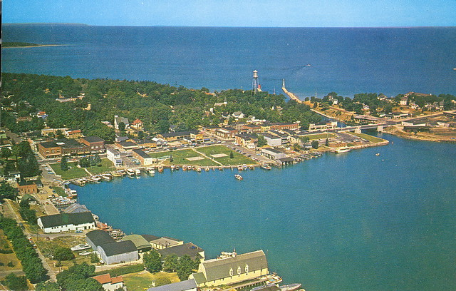 charlevoix mi aerial view of downtown along round lake bri