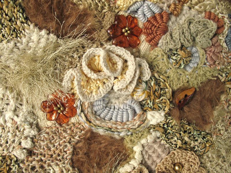 freeform knit & crochet fabric closeup
