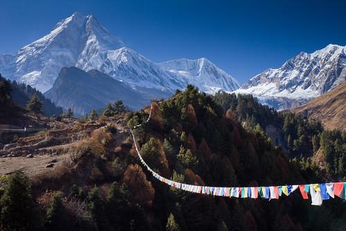 nepal mountains trek landscape glacier prayerflags manaslu manaslutrek