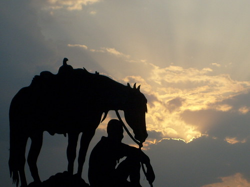 Cowboy & His Mount at Sunset