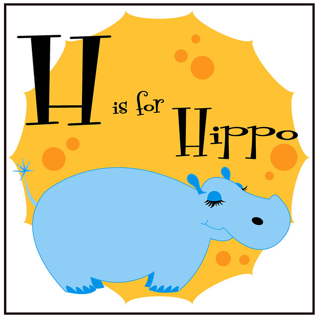 h is for hippo coloring pages - photo #39