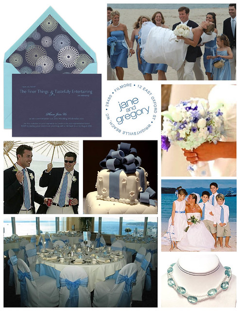 Blue White and Teal Seaside Beach Wedding Anniversary