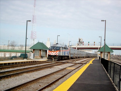 Westbound Metra express commuter train. The Metra Hanson Park commuter flagstop depot. Chicago Illinois. March 2007. by Eddie from Chicago