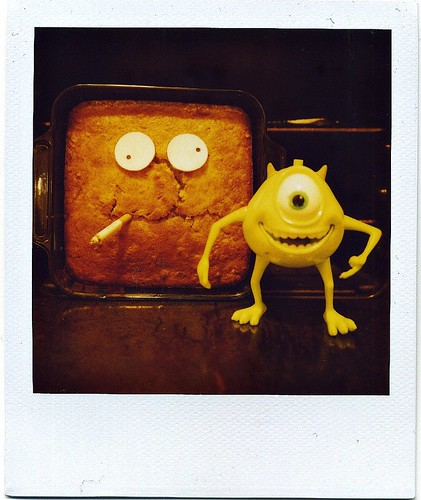 banana nut bread looking breadpan meeting mike wazowski. #1/1