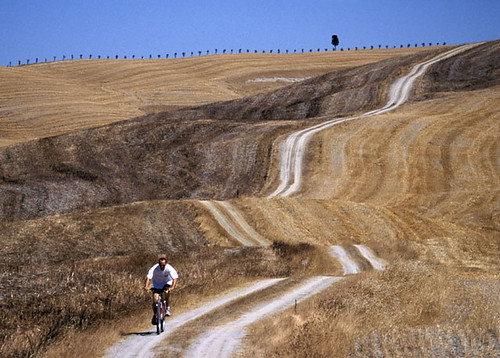 Mountain bike in Val D'Orcia (Tuscany),Italy
