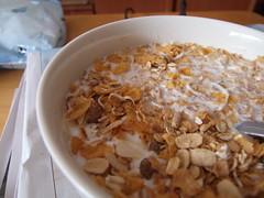 coconut(0.0), produce(0.0), dessert(0.0), cereal(0.0), snack food(0.0), breakfast cereal(1.0), meal(1.0), breakfast(1.0), food(1.0), dish(1.0), muesli(1.0), cuisine(1.0),