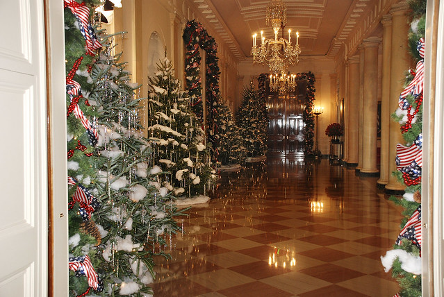 White house cross hall christmas decorations flickr for Christmas hall decorations