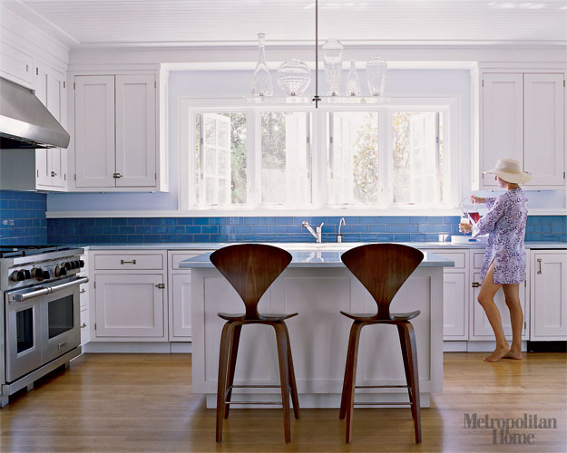 Perfect Blue White Kitchen White Cabinets Blue Tile