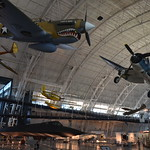 Steven F. Udvar-Hazy Center: P-40 Warhawk & F-4 Corsair hanging over the SR-71 Blackbird, among others