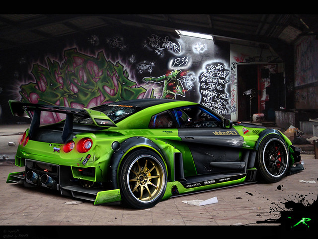 Green Nissan Skyline Gtr R35 Car Interior Design