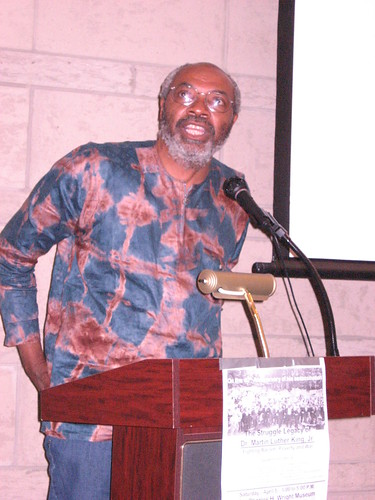Abayomi Azikiwe, editor of the Pan-African News Wire, speaking to a large crowd at the Dr. Charles H. Wright Museum of African-American History in Detroit during the MLK Conference, April 5, 2008. (Photo: Cheryl LaBash). by Pan-African News Wire File Photos