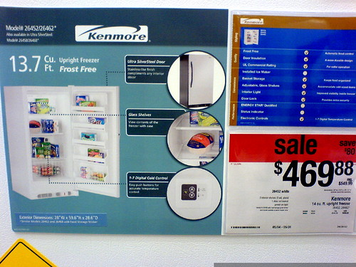 you know its an exciting weekend when you go on a marathon price comparison spree at three different appliance outlets to size up storage freezers...   DSC00773