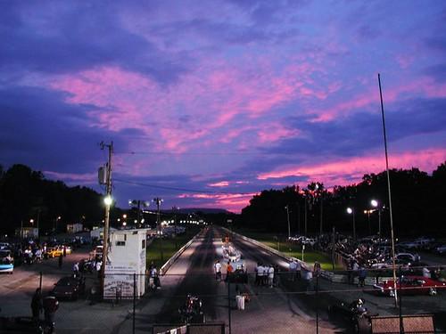pink sunset race track purple dusk