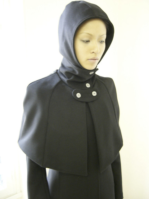 0405-0102 long black coat with short cape