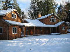 outdoor structure, building, hut, winter, roof, snow, property, cottage, house, estate, log cabin, residential area, sugar house, facade, home,